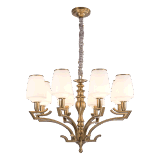 New Design Iron Chandelier with Glass Shade Lighting Fitting for Home (SL2276-8)