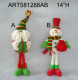 Standing Santa and Snowman Christmas Decoration with Gifts-2asst