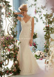 Ivory Sleeveless Lace Bridal Gown Sweep Train Wedding Dress