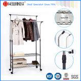 Adjustable Extendable Steel Double-Rod Garment Shelf Rack