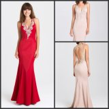 Sheath Satin Bridesmaid Party Prom Gowns Red Blush V-Neck Formal Evening Dresses Y16327