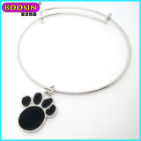 New Arrival Silver Dog Paw Charm Expandable Bangle # 19927