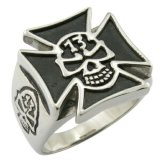 EU Style Skull Cross Punk Rock Ring Cool Men Jewelry