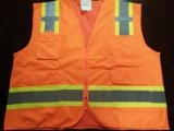 Safety Vest Flu Orange with Reflective Caution Band