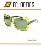 Crystal Green Color in Unique Design Sunglasses for Lady