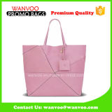 New Candy Pink PU Leather Lady Handbag with Small Wallet