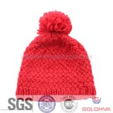 Women′s Jaquared Knitted Hat with Pompom