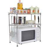 DIY 2 Tiers Metal Kitchen Microware Rack with PP Mat and Side Hook Rails