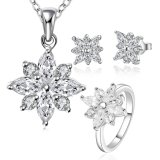 925 Sterling Silver Plated Jewelry Set with Zircon Flower Shape Necklace Earring and Rings