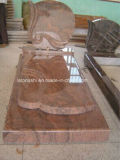 Red Granite Flower Bed Tombstone / Gravestone