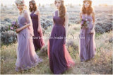 Universal Evening Prom Party Gowns Purple Chiffon Bridesmaid Dresses Z4027