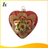 Decal Glass Golden Heart-Shaped Christmas Decorations