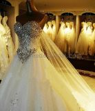 Wedding Dress Custom a-Line White Ivory Lace Rinestones Bridal Dresses Diamonds Crystal Stones Ball Gown Strapless Wedding Gown (H13361)