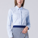 Women Classic Shirts Fold-Over Collar Buttoned Down Long Sleeves Shirt