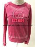 Fashionable Plum Fleece Pullover for Women with Burn out