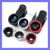 Super Wide Range Zoom 3 in 1 Clip-on Lens Fish Eye Len + Wide Angle + Macro Lens for iPhone Samsung Mobile Phone
