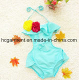 Girl′s Lace Pleated Skirt Swimming Suit, Lovely One Piece Swimming Wear