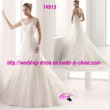 Full Length Lace Passion Belt Wedding Dress with Cap Sleeve