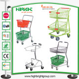 Double Layer Two Basket Grocery Shopping Cart