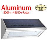 Solar Light 48 LED 800 Lumen Aluminum Alloy Microwave Radar Solar Motion Sensor Light Waterproof Wireless Security Wall Lamp for Pathway Yard Garden