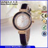 ODM Hot Sale Leather Strap Quartz Ladies Wrist Watch (Wy-101C)