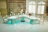 LED Round Stainless Steel Decorative Metal Dining Table Wedding Table
