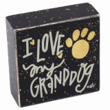 Funny Black Wooden Block with Words for Desk/Table for Home Decoration