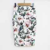 Pencil Skirt Women High Waist Skirts Green Elegant Floral Print Skirt Bodycon MIDI Skirt