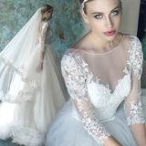 A-Line Full Sleeves Bateau Tulle Wedding Dress
