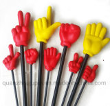 Custom Plastic Spongy Hand Shape Toy with Stick for Game
