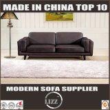 Antique Wood Frame Leather Sofa for Living Room