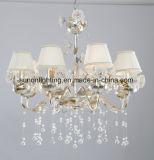 Floral Faric Shade Ceramic Flower Crystal Chandelier