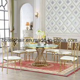 Temper Glass Top Stainless Steel Frame Table and Chairs for Dining Room