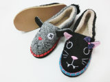 Cute Ladies Indoor Winter Nice Soft Slipper Shoes with Animal