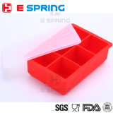 OEM 6 Cavities Silicone Ice Cube Tray with Lid Square Ice 3 Size