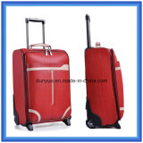 China Manufacturer Practical Design Travel Luggage Case, OEM PU Leather Carry-on Trolley Bag with Two Wheels