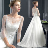A-Line Lace Sleeves Pleated Button Wedding Dress with Flower