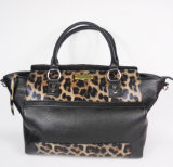 Guangzhou Supplier Fashionable Leopard Pattern Genuine Leather Lady Handbag (205)
