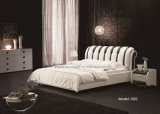 Modern Home Hotel Furniture Bedroom Soft Double Leather Bed (J302)