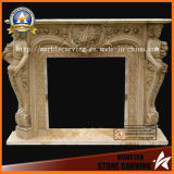 Yellow Marble Fireplace Mantel with Statue Sculpture Carving