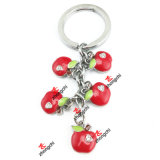 Promotional Custom Metal Red Apple Charms Keychain Gift (CAK50813)