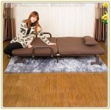 Single Folding Bed with Wheeled Base and Brown Mattress 190*70cm