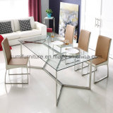 Hot Sale Hotel Style Dining Table with Clear Glass
