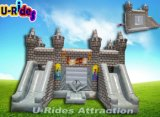Grey color Inflatable jumping castle for amusement park
