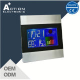 Digital Colorful LCD Screen Indoor Temperature Alarm Clock with Weather Station