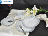 20PCS Wholesale Ceramic Square Dinnerware Set, White Porcelain Tea Set
