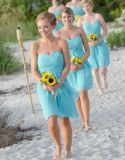 New Wholesale Price Light Chiffon Ice Blue Bridesmaid Dress