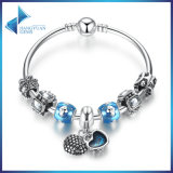 Mother Gift Charm Bracelets Heart Pendant & Blue Beads Love Bangles