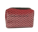 Fake Horse Fur with Full Heart Prints Beauty Women′s Makeup Bags