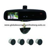 """Auto-Dimming Rear View Mirror with 4.3"""" LCD Monitor and Distance/Temperature/Direction Display"""
